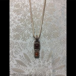 Vintage Sterling Silver Necklace w/Amber Pendant